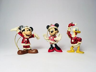 Jim Shore Disney Showcase Collection St. Mickey, Mrs Clause & Donald Ornaments