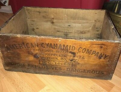 Vintage American Cyanamid Co. New York Wood Box Crate Explosive Dynamite