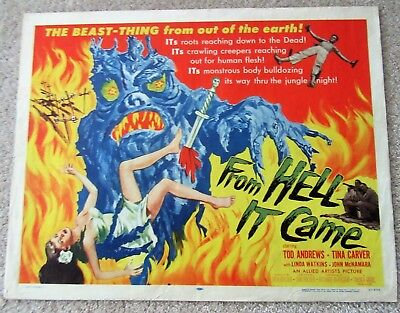 From Hell It Came Original 1957 Hlf Sht Movie Poster Rld Vg