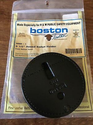 "3 1/2 "" Round Badge Holder , By Boston Leather"
