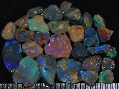 100 Cts Solid Gem Quality Lightning Ridge Rough And Rough Rubbed Opal Parcel 80