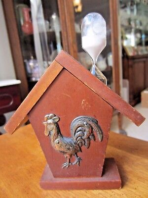 Vintage Bird House Style 3 min. sand Wooden Egg Timer with Rooster on Front,