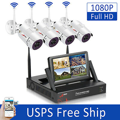 """ANRAN 4CH 960P CCTV Wireless Security Camera System Outdoor 7""""Monitor HDMI NVR"""