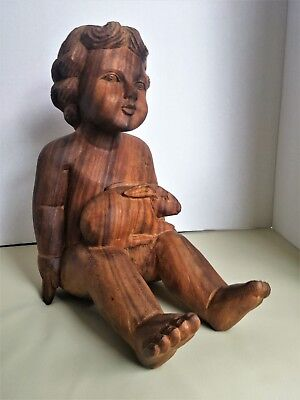 """Hand Carved CHILD WITH TWO RABBITS Art Statue Figure Made of Teak wood 12.5"""""""