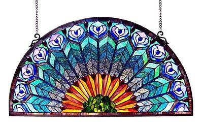 "Stained Glass Chloe Lighting Peacock Feather Window Panel 35 x 18"" Handcrafted"