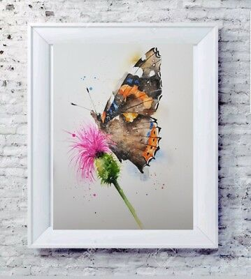 Elle Smith Art.original Signed Butterfly Watercolour Painting.xmas Gift A3 Size
