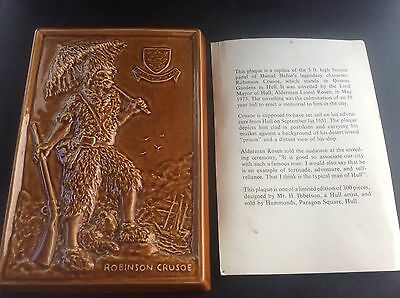Vintage Hammonds Hull Eastgate Pottery Withernsea Plaque Robinson Crusoe 1973