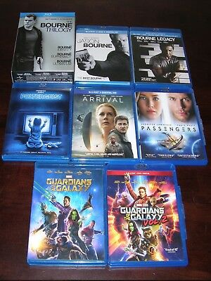Lot of 10 Guardians Of The Galaxy Jason Bourne Sci-Fi Collection Blu Ray Movies