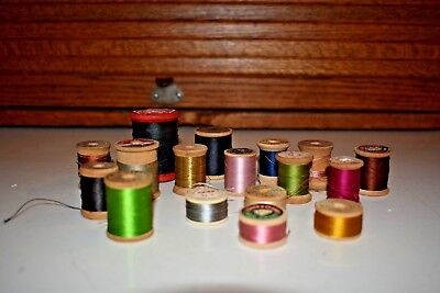 17 Vintage Wooden Thread Spools / Thread