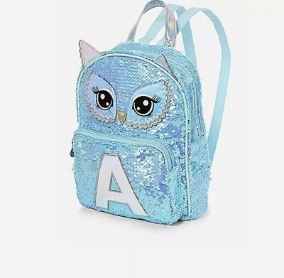 """Justice Backpack Owl Flip Sequin Initial """"A"""" *New With Tags"""""""