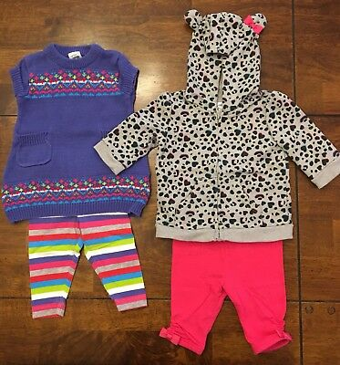 Lot Of 4 Carter's & Circo Baby Girl Outfits - Size 3 MONTHS