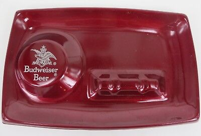 BUDWEISER BEER vintage metal enamel shiny paint ashtray SWEET Anheuser Busch 60s