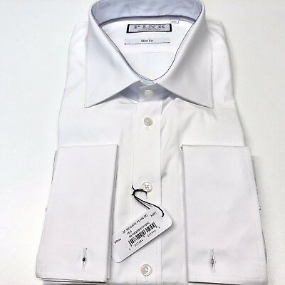 """Mens THOMAS PINK White Shirt 18.5"""" Neck SLIM FIT Double Cuff Reigate All Cotton"""