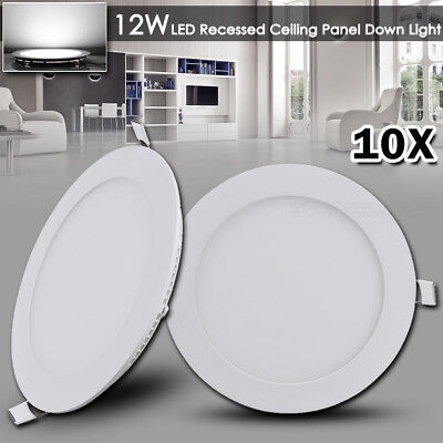 10x 12W Round LED Recessed Ceiling Panel Down Light Cool White Bulb Lamp Fixture