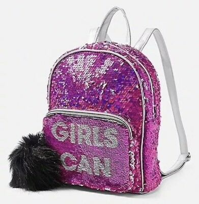 """Justice """"Girls Can"""" Flip Sequin MINI Backpack!  *New With Tags*"""