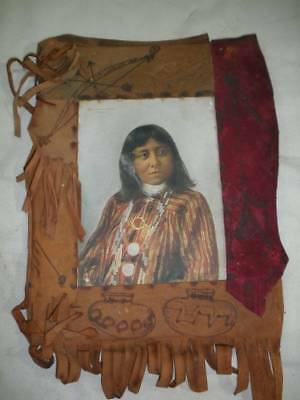 """1898 F.A. Rinehart Color Lithograph """"Brushing Against-Apache""""- in Leather Frame"""