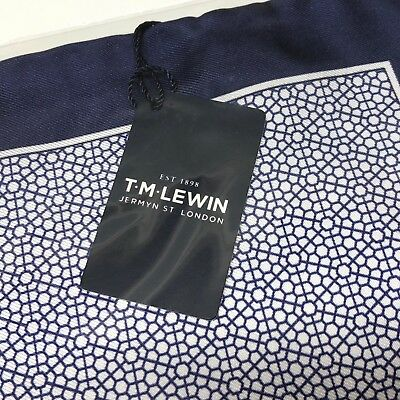 Mens Blue White Pocket Square T.M.LEWIN Hand Rolled Silk Geometric Handkerchief