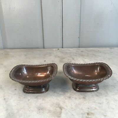 Pair of antique silver plated salts