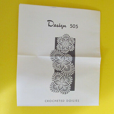 Vintage Crocheted Doilies Pattern Design 505 Pineapple and Shell stitches