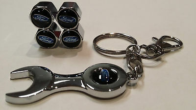 4pcs Set Ford Black Logo Metal Chrome Tyre Valve Dust Cap Spanner