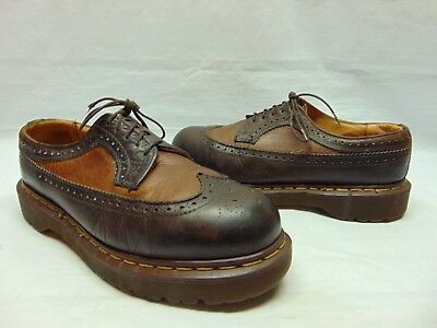 Vintage Dr. Martens 2 Tone Brown Tan Full on Wingtip Leather Brogue Oxfords 10 E