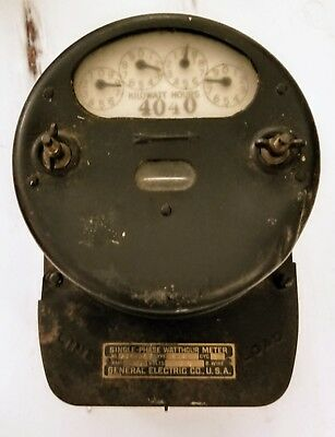 Vintage Primitive General Electric Company USA Single Phase Watt Hour Meter Type