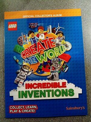 LEGO Create The World INCREDIBLE INVENTIONS -new- Sainsbury's album + free cards