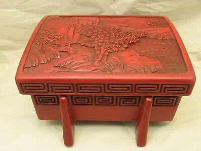 Vintage Chinese Red Cinnabar Footed Box with Mountain Village Motif