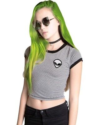 41a89ef2c17 Tumblr Aesthetic Extraterrestrial Black and White Striped Crop Top, Size M/L