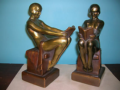 Antique nude reading bookends Armor Bronze clad Max LeVerrier orig finish+labels