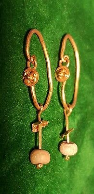 stunning Roman high purity Gold Earring Pair with bead drop  -1st century AD