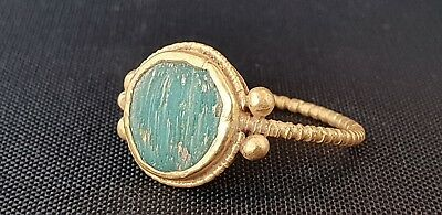 Roman  Gold Ring with Green Cabochon 2nd-3rd century AD