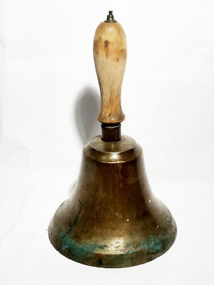 "Large 11"" Antique Cast Bronze Brass School Bell with Wood Handle 7"" diam"