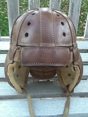Early Old Antique 1920's ALL Thick Brown Leather Football Helmet Vintage Dog Ear