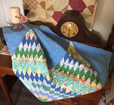 Vintage Antique Old VERY LARGE Early 1900's Lone Star Diamonds Blue Quilt Piece