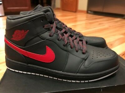 first rate c73ee c772c Nike Air Jordan 1 Mid Anthracite Gym Red White 554724 045 Men s Size 12