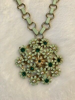 Beautiful Vintage Necklace Green Enamel Flowers Cluster Pendant With Chain