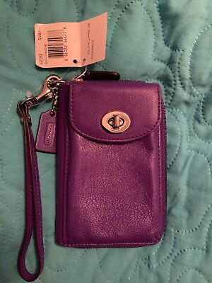 NWT AUTHENTIC COACH Legacy Purple Leather Wallet wristlet ID phone case