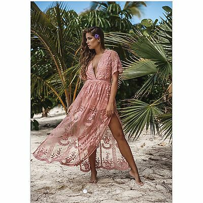 c634a07780b HONEY PUNCH BLUSH Embroidered Lace Romper Maxi Dress. Style  ID5009C ...