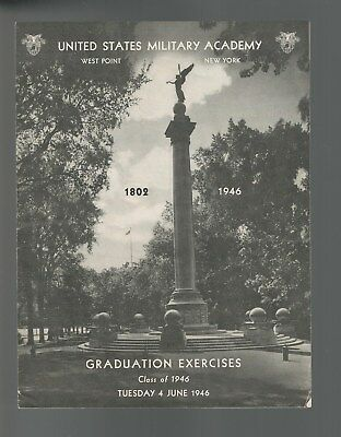 Graduation Exercises Program Class Of 1946 U S Military Academy West Point