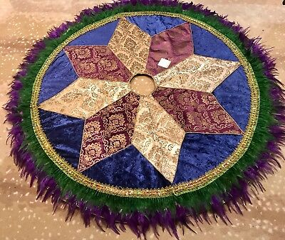 "New Orleans Mardi Gras 60"" Jeweled Feather Green Blue Purple Gold Tree Skirt New"