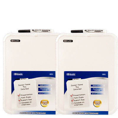 "2-Pack, BAZIC 8.5 X 11"" Small Dry Erase White Board With Marker Note Study"