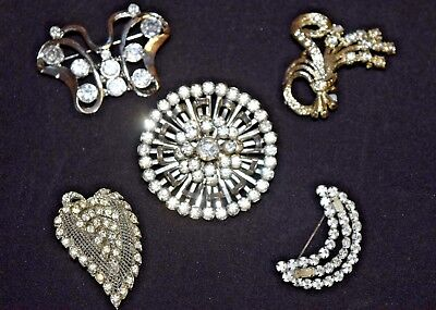 Lot Vintage Antique Rhinestone Estate Scatter Brooch Pins Moon Leaf Butterfly