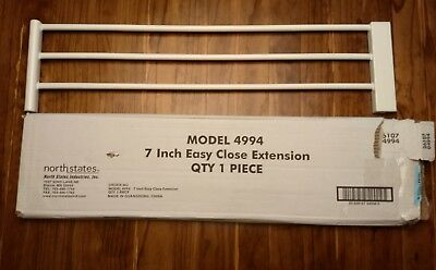 """North States Supergate Easy Close 7"""" White Baby Safety Gate Extension   4994"""