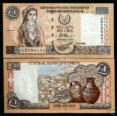 1 pound 60c UNC /> Pre-Euro CYPRUS P-60 2001 Woman in a traditional dress