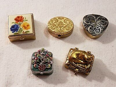 Wonderful Lot Of 5 Pill Boxes Very Pretty Lot