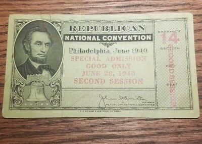 1940 Republican National Convention Ticket