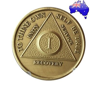 AA alcoholics anonymous bronze 1 Year recovery sobriety coin token medallion New