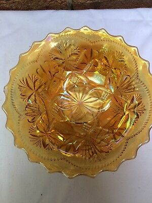 Marigold Crown Crystal Carnival Glass Bullrushes And Bush Orchids Bowl