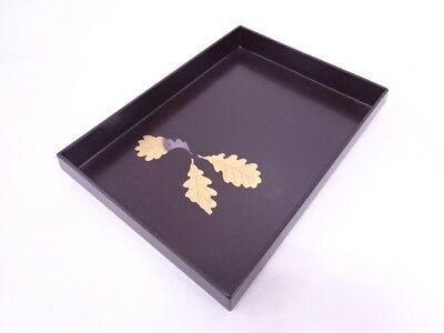 38984# Japanese Lacquered Tray / Gold Plant Makie